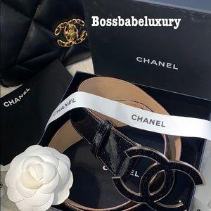 Rare Chanel leather belt gold huge CC logo patent